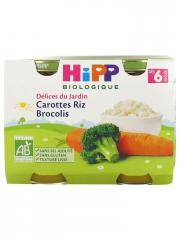 HiPP Délices du Jardin Petits Carottes Riz Brocolis dès 6 Mois Bio 2 Pots - Carton 2 pots de 190 g