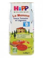 HiPP La Mamma Sauce Tomates et Légumes dès 8 Mois Bio 2 Pots - Carton 2 pots de 80 g