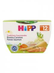 HiPP Traditions Gourmandes Risotto Carottes Panais Saumon dès 12 Mois 220 g - Pot 220 g