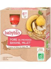 Babybio Poire Banane Millet 6 Mois et + Bio 4 Gourdes de 90 g - Boîte 4 gourdes de 90 g