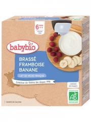 Babybio Brassé Framboise Banane 6 Mois et + Bio 4 Gourdes de 85 g - Boîte 4 gourdes de 85 g