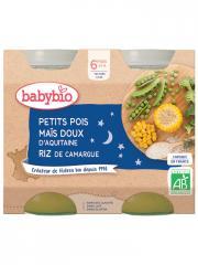 Babybio Bonne Nuit Petits Pois Maïs Doux Riz 6 Mois et + Bio 2 Pots de 200 g - Carton 2 pots de 200 g