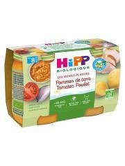 HiPP Les Menus Plaisirs Pommes de Terre Tomates Poulet dès 8 Mois Bio 2 Pots - Carton 2 pots de 190 g