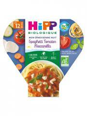 HiPP Mon Dîner Bonne Nuit Spaghetti Tomates Mozzarella dès 12 Mois Bio 230 g - Plat 230 g