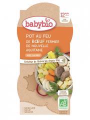 Babybio Pot au Feu de Boeuf 12 Mois et + Bio 2 Bols de 200 g - Carton 2 bols de 200 g