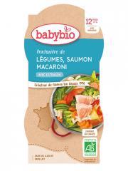 Babybio Printanière de Légumes Saumon Macaroni 12 Mois et + Bio 2 Bols de 200 g - Carton 2 bols de 200 g