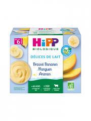 HiPP Délices de Lait Brassé Bananes Mangues Ananas dès 6 Mois Bio 4 Pots - Carton 4 pots de 100 g