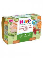HiPP Ma Première Viande Carottes Petits Pois Poulet dès 6 Mois Bio 2 Pots - Carton 2 pots de 190 g