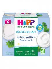 HiPP Délices de Lait au Fromage Blanc Nature Sucré dès 6 Mois Bio 4 Pots - Carton 4 pots de 100 g