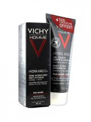 Vichy Homme Hydra Mag C+ Soin Hydratant Anti-Fatigue 50 ml + Hydra Mag C Gel Douche Corps et Cheveux 100 ml Offert - Lot 2 produits