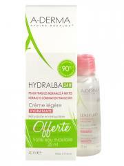 Aderma Hydralba 24H Crème Hydratante Légère 40 ml + Sensifluid Eau Micellaire Démaquillante 25 ml Offerte - Lot 2 produits