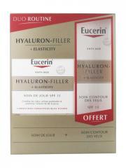 Eucerin Hyaluron-Filler + Elasticity Soin de Jour SPF15 50 ml + Soin Contour des Yeux 15 ml Offert - Coffret 2 produits