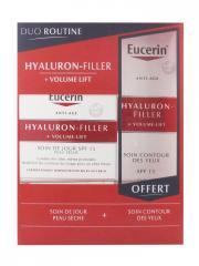 Eucerin Hyaluron-Filler + Volume-Lift Soin de Jour SPF15 Peau Sèche 50 ml + Soin Contour des Yeux SPF15 15 ml Offert - Coffret 2 produits