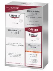 Eucerin Hyaluron-Filler Soin de Jour SPF15 Peau Normale à Mixte 50 ml + Vitamine C Booster 8 ml Offert - Coffret 2 produits