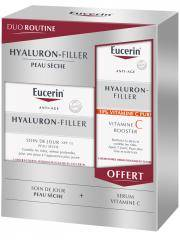 Eucerin Hyaluron-Filler Soin de Jour SPF15 Peau Sèche 50 ml + Vitamine C Booster 8 ml Offert - Coffret 2 produits