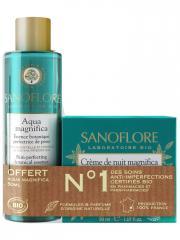 Sanoflore Crème de Nuit Magnifica Bio 50 ml + Aqua Magnifica Essence Botanique Perfectrice de Peau 50 ml Offerte - Lot 1 crème + 1 lotion