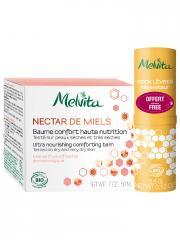 Melvita Nectar de Miels Baume Confort Haute Nutrition Bio 50 ml + Stick Lèvres Réparateur Bio 3,5 g Offert - Lot 2 produits