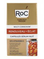 RoC Multi Correxion Renouveau + Éclat Capsules Sérum Nuit 30 Capsules Biodégradables - Flacon 30 capsules biodégradables