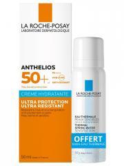 La Roche-Posay Anthelios Crème Solaire Visage Hydratante Ultra Protection Avec Parfum SPF50+ 50 ml + Eau Thermale 50 ml Offerte - Lot 1 crème + 1 eau thermale