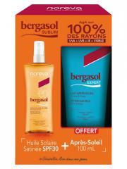 Noreva Bergasol Sublim Huile Solaire Satinée SPF30 125 ml + Expert Lait Après-Soleil 100 ml Offert - Lot 1 spray + 1 tube
