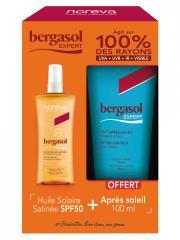 Noreva Bergasol Sublim Huile Solaire Satinée SPF50 125 ml + Expert Lait Après-Soleil 100 ml Offert - Lot 1 spray + 1 tube