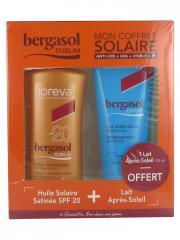 Noreva Bergasol Sublim Huile Solaire Satinée SPF20 125 ml + Expert Lait Après-Soleil 100 ml Offert - Lot 1 spray + 1 tube