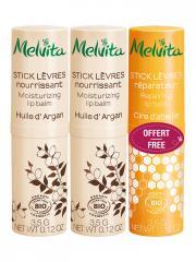 Melvita Stick Lèvres Nourrissant Bio Lot de 2 x 3,5 g + Stick Lèvres Réparateur Bio 3,5 g Offert - Lot 3 x 3,5 g