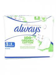 Always Cotton Protection 9 Serviettes Hygiéniques Taille 3 Night - Sachet 9 serviettes