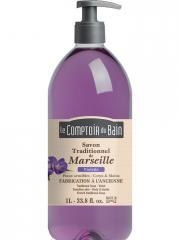 Le Comptoir du Bain Savon Traditionnel de Marseille Violette 1 L - Flacon-Pompe 1 Litre