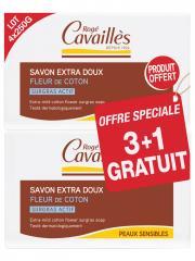 Rogé Cavaillès Savon Surgras Extra-Doux Fleur de Coton Lot de 3 x 250 g + 1 Gratuit - Lot 4 savons de 250 g