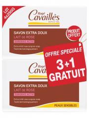 Rogé Cavaillès Savon Surgras Extra-Doux Lait de Rose Lot de 3 x 250 g + 1 Gratuit - Lot 4 savons de 250 g