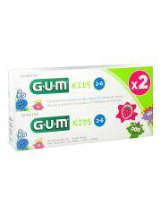 GUM Kids Dentifrice Fluoré 2-6 Ans Lot de 2 x 50 ml - Boîte 2 x 50 ml