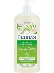 Natessance Gel Douche Rafraîchissant Eau de Coco Bio 1 L - Flacon-Pompe 1000 ml