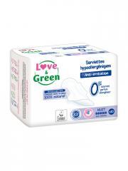Love & Green Serviettes Hypoallergéniques Nuit 10 Serviettes - Sachet 10 Serviettes