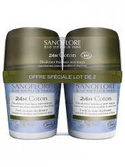 Sanoflore Pureté de Lin Déodorant Efficacité 24H Roll-on Bio Lot de 2 x 50 ml - Lot 2 x 50 ml
