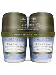 Sanoflore Pureté de Lin Déodorant Efficacité 24H Roll-on Bio Lot de 2 x 50 ml - Lot 2 x 50 ml