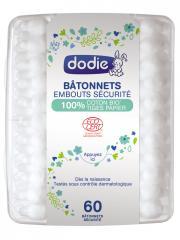 Dodie Bâtonnets Embouts Sécurité 100% Coton Bio Tige Papier 60 Bâtonnets - Boîte plastique 60 bâtonnets