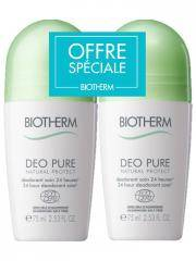 Biotherm Déo Pure Natural Protect Déodorant Soin 24H Roll-On Lot de 2 x 75 ml - Lot 2 x 75 ml