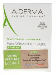 Aderma Pain Dermatologique Sans Savon Lot de 2 x 100 g - Lot 2 pains
