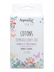 AquaTéal Cotons Démaquillants Bio Lavables et Réutilisables 6 Cotons - Boîte 6 cotons