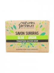 Nature & Senteurs Savon Surgras Olive et Argan Tradition Savon Noir 100 g - Pain 100 g