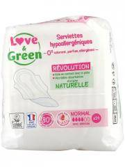 Love & Green Serviettes Hypoallergéniques Normal 14 Serviettes - Sachet 14 serviettes