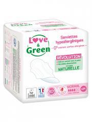 Love & Green Serviettes Hypoallergéniques Normal 14 Serviettes - Sachet 14 serviettes