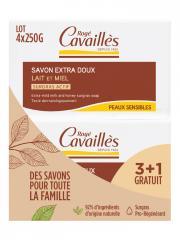 Rogé Cavaillès Savon Extra Doux Lait et Miel Lot de 3 x 250 g + 1 Gratuit - Lot 4 savons de 250 g