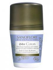 Sanoflore Pureté de Lin Déodorant Efficacité 24H Roll-On Bio 50 ml - Flacon-Bille 50 ml