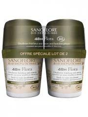 Sanoflore 48H Flora Roll-On Bio Lot de 2 x 50 ml - Lot 2 x 50 ml