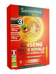 Santarome Bio Ginseng Gelée Royale Guarana Acérola Bio 20 Ampoules - Boîte 20 Ampoules de 10 ml