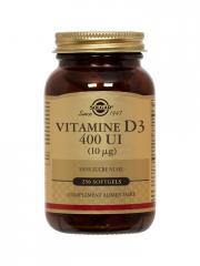 Solgar Vitamine D3 400 UI (10mcg) 250 Gélules - Flacon 250 gélules