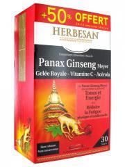 Herbesan Panax Ginseng Meyer Gelée Royale Vitamine C Acérola 20 Ampoules + 10 Offertes - Boîte 30 ampoules