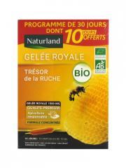 Naturland Gelée Royale Bio 20 Ampoules de 10 ml + 10 Ampoules Offertes - Lot 20 ampoules x 10 ml + 10 Ampoules x 10 ml